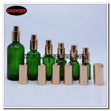 Green Glass Serum Pump Bottles with Gold Cover