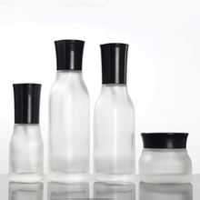 Clear Frosted Square Glass Bottles with Black Cover