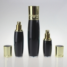 Luxurious  Plastic Lotion Bottle in Black with Gold Cap