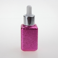 Pink Dropper Bottle with Silicone Cap in Square  30ml