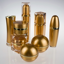 Gold Lotion Bottles and Cream jars  for Sale