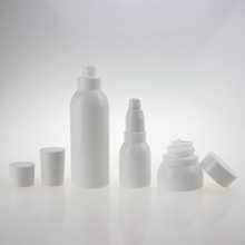 Cosmetic Opal Pearl White Glass Pump Bottles and Jars