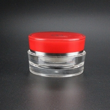 Wholesale Plastic Cosmetic Jars in Clear with Red Cap