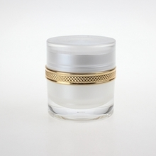 Round Cosmetic Plastic Cream Jars in White with Gold Collar