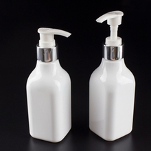 White Square Lotion Pump Bottle with Capacity 200ml