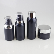 Black PET Lotion Pump Bottles and Cream Jars with Silver Cap