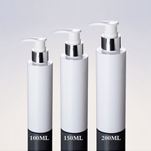 Wholesale White PET Lotion Pump Bottle with Silver Collar