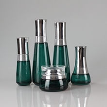 Empty Cosmetic Packaging Set in Deep Green with Silver Cover