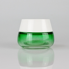 50g Wide Bottom Green Glass Cream Jar with White Cover