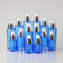 Multi-size Blue Glass Lotion Pump Bottle with Silver Collar