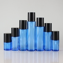 Multi-size Glass Blue Lotion Bottles with Black Big Cap