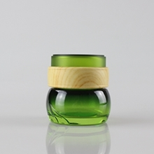 50g Green Glass Jar  with Plastic Wooden Pattern Cap