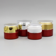Wholesale 20g Red Glass Cream Jar with Gold or Silver Cover