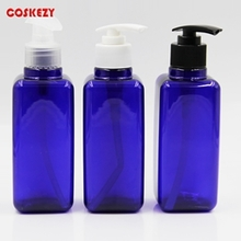 Square Blue Clear PET Cosmetic Bottle