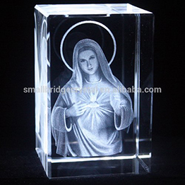 3d Laser Engrave Crystal Religious The Virgin Mary 3d