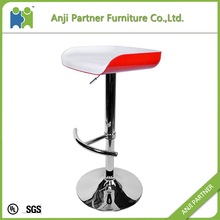 Modern red leisure room swivel plastic adjustable height bar stool(Leo)