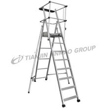 Large aluminum platform ladder