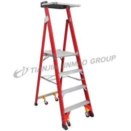 Large fiberglass platform ladder
