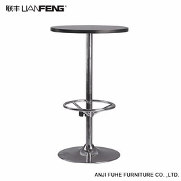 Height-adjustable black round bar table