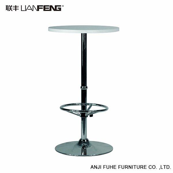 Height Adjustable White Round Bar Table Bar Furniture