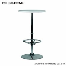 Height-adjustable white round bar table