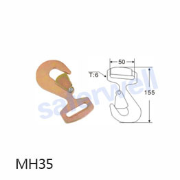 2 inch 5T yellow galvanized snap hook