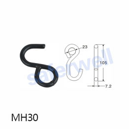 23mm S Hook for Lashing Ratchet Tie Down Webbing Strap