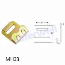 3 inch 8000kg yellow zinc Flat hook for cargo lashing belt(polyester webbing)