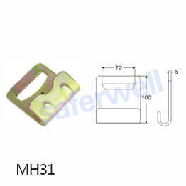 4 inch 17600lbs yellow zinc Flat hook