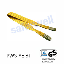 3T yellow Polyester falt sling 100% high tenacity industrial polyester yarn