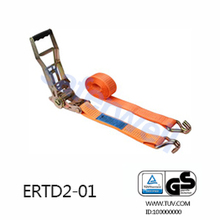 50mm 5T 10M Ergo ratchet strap with J hooks GS approved