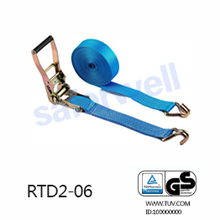 GS quaity Ratchet tie down Polyester lashing cargo strap with double J hooks