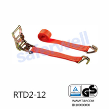 High tensile strap ratchet tie down strap assembly