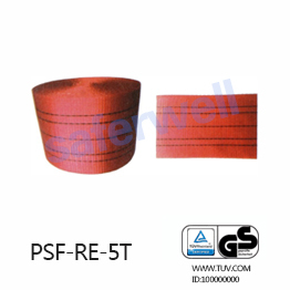 5T red Polyester webbing for the sling, 100% high tenacity industrial polyester yarn.