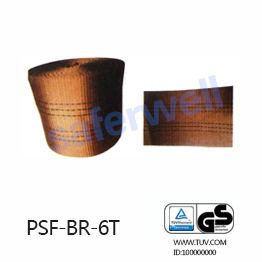 6T brown Polyester webbing for the sling, 100% high tenacity industrial polyester yarn.