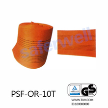 10T orange Polyester webbing for the sling, 100% high tenacity industrial polyester yarn
