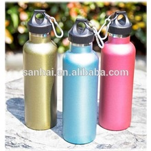 double wall stainless steel water bottle with wide mouth with caribiner