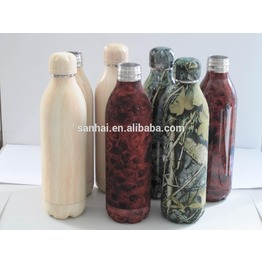 double wall insulated wooden printing vacuum water bottle