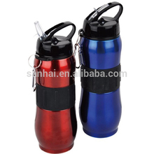 27oz single wall stainless steel water bottle with flip cap and straw