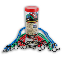 12PC Assorted Bungee Cords Plastic Tube