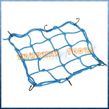 4mmx38cmx38cm Rubber Cargo Net, Black Color 6 Coated Vinyl Steel Hooks