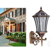outdoor solar power 1w led waterproof ip54 antique wall light for garden
