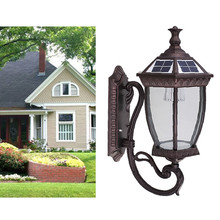 1W led energy saving wireless outdoor antique solar sensor wall light