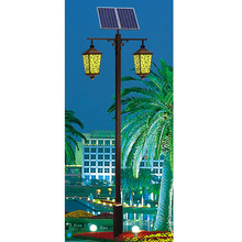 integrated solar power LED garden decorative street lights with two lamp