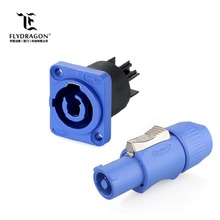 Blue Power Input Male to Female Connector, Panel Mount Connector for Stage Light