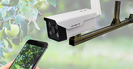 How can a solar security camera be connected to a cell phone for remote viewing