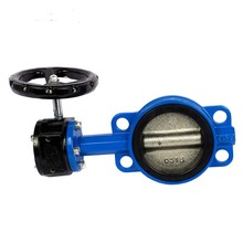 Fully PTFE Lining Wafer Type Worm Gear handle cast iron butterfly valve