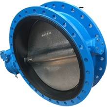 Dn450 450mm Cast Iron Body Ductile Iron Disc Double Flange Butterfly Valve