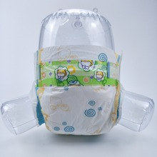 Quanzhou factory wholesale cheap baby diaper mass production, PE back sheet cute ribbit print soft baby diapers nappies