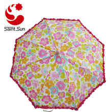 Flower Overall Transfer-printing with frilly  360 Degrees Adjustable Baby Stroller Clip-On Umbrella  kids clear umbrella